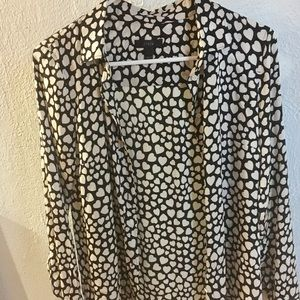 J. Crew Long Sleeve Blouse with Heart pattern